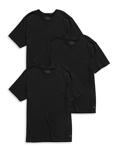 Tommy Hilfiger Three-Pack V-Neck T-Shirts-BLACK-Large