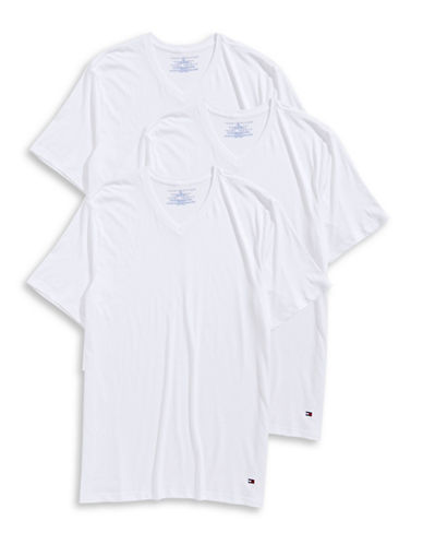 Tommy Hilfiger Three-Pack V-Neck T-Shirts-WHITE-Small