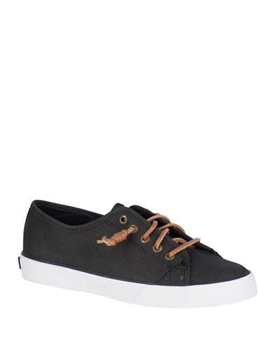 Sperry Pier View Canvas Low Top Sneakers-BLACK-5.5