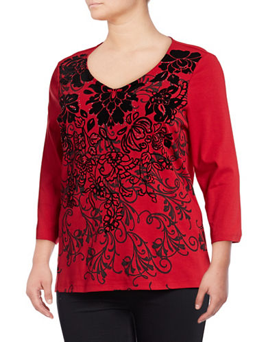 Karen Scott Plus Plus Floral-Print V-Neck Top-RED-1X