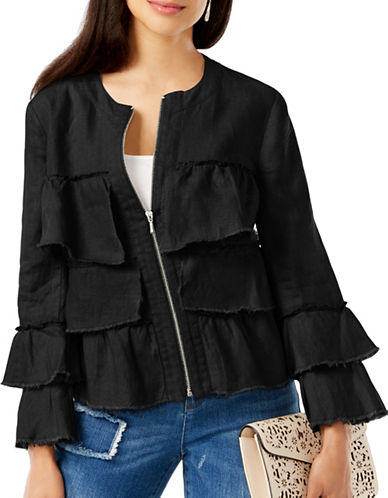 I.N.C International Concepts Linen Ruffled Jacket-BLACK-Small