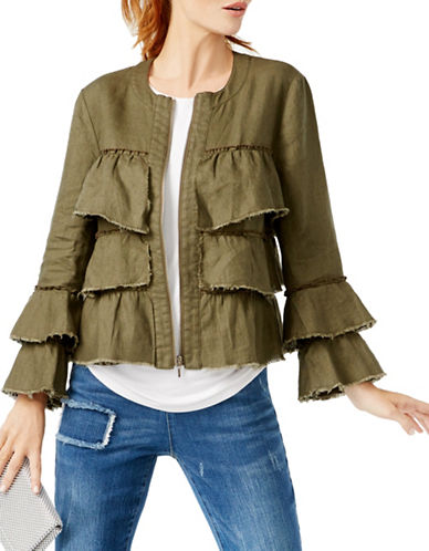 I.N.C International Concepts Linen Ruffled Jacket-GREEN-X-Large