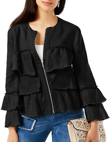 I.N.C International Concepts Petite Linen Ruffled Jacket-BLACK-Petite Large