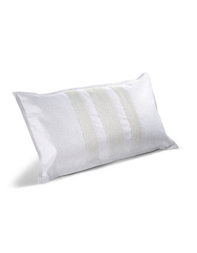 Hotel Collection Frame Metallic Beaded Cushion-WHITE-One Size