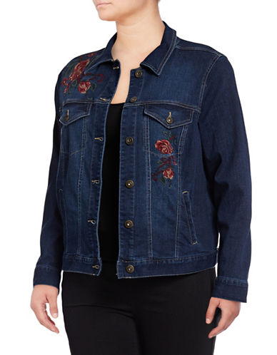 Style And Co. Plus Aurora Floral Denim Jacket-BLUE-22W