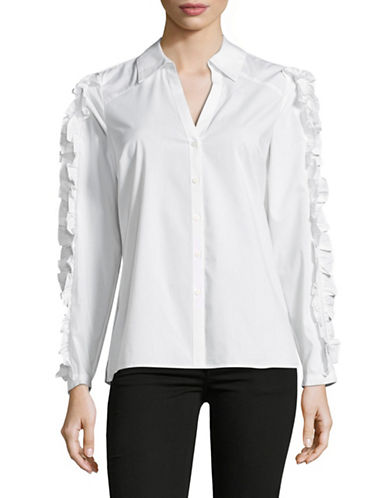 I.N.C International Concepts Ruffle Button-Down Shirt-WHITE-Medium