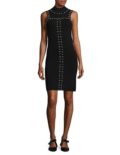 I.N.C International Concepts Sleeveless Stud Bodycon Dress-BLACK-X-Small