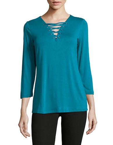 I.N.C International Concepts Lace-Up Tee-TEAL-Small