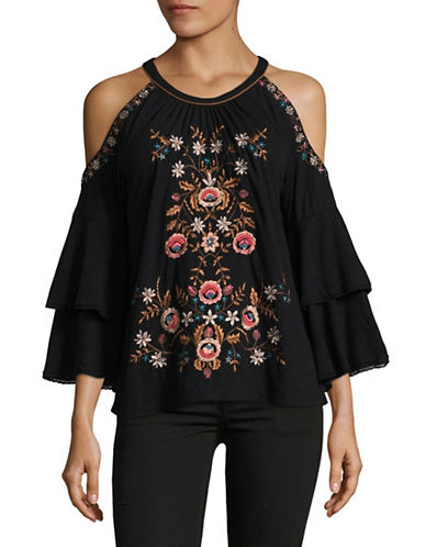 I.N.C International Concepts Embroidered Cold Shoulder Top-BLACK-Small