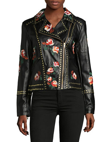 I.N.C International Concepts Mosaic Rose Faux Leather Jacket-BLACK MULTI-Medium