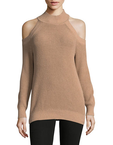 I.N.C International Concepts Shaker-Rib Cold-Shoulder Sweater-GOLD-Large