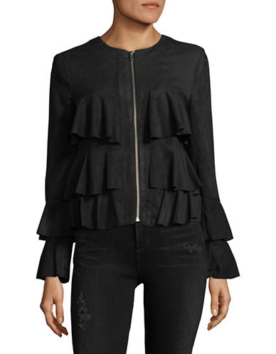 I.N.C International Concepts Faux Suede Ruffle Jacket-BLACK-Small