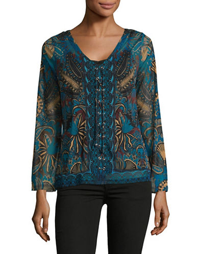 I.N.C International Concepts V-Neck Bell Lace-Up Top-WATER LILY-X-Large