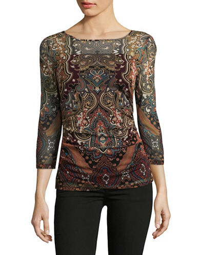 I.N.C International Concepts Illusion Paisley Top-RED-Large