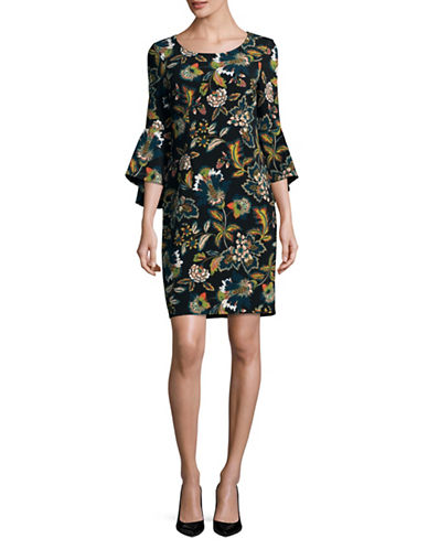 I.N.C International Concepts Floral Print Bell-Sleeve Dress-GREEN-Medium