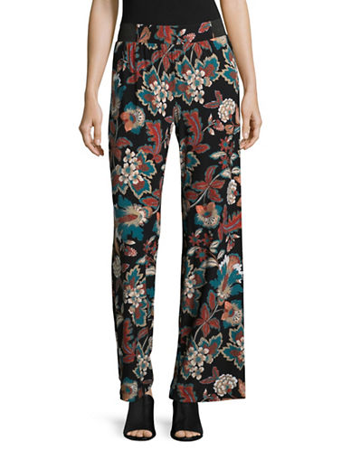 I.N.C International Concepts Petite Printed Wide-Leg Pyjama Pants-BLACK-Petite Medium