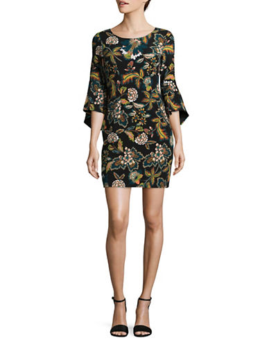 I.N.C International Concepts Petite Floral Print Bell-Sleeve Dress-GREEN MULTI-Petite X-Small