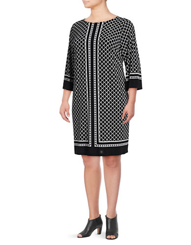 I.N.C International Concepts Plus Lattice Print Shift Dress-BLACK MULTI-1X