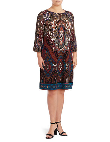 I.N.C International Concepts Plus Boat Neck Printed Sheath Dress-MIDNIGHT MULTI-2X