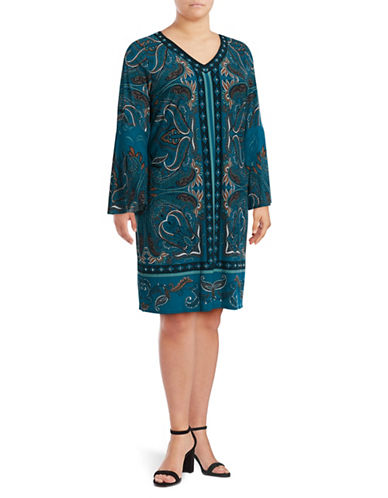 I.N.C International Concepts Plus Printed Bell Dress-FIESTA-2X