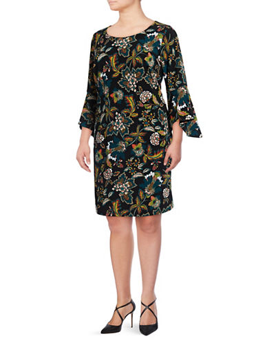 I.N.C International Concepts Plus Floral Print Bell-Sleeve Dress-MULTI-2X