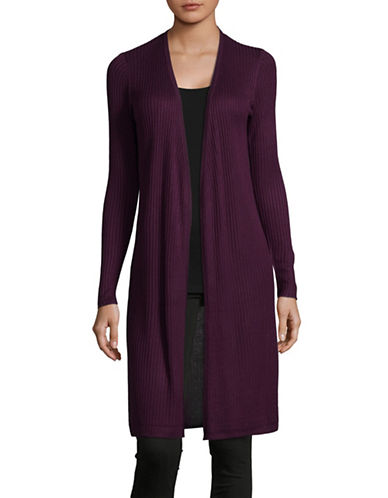 I.N.C International Concepts Ribbed Open Cardigan-PURPLE-Small