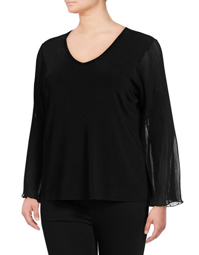 I.N.C International Concepts Plus Mesh Sleeve Top-BLACK-1X