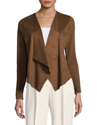 I.N.C International Concepts Petite Moleskin Open Front Cardigan-BROWN-Petite Large