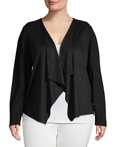 I.N.C International Concepts Plus Moleskin Open Front Cardigan-BLACK-2X