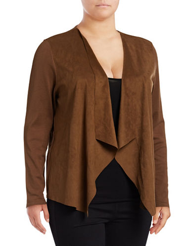 I.N.C International Concepts Plus Moleskin Open Front Cardigan-BROWN-2X