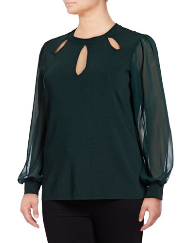 I.N.C International Concepts Plus Cutout Sheer Panel Top-GREEN-1X
