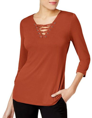 I.N.C International Concepts Petite Lace-Up Top-RED-Petite Small
