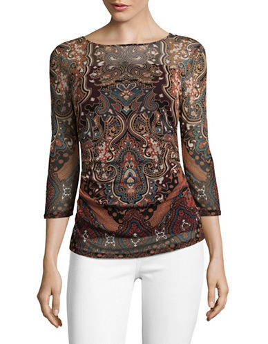 I.N.C International Concepts Petite Three-Quarter Sleeve Top-MULTI-Petite Medium