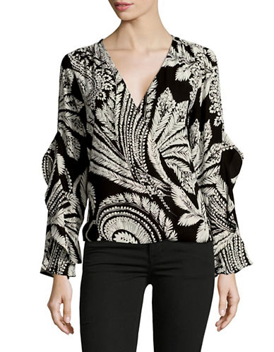 I.N.C International Concepts Botanical Ruffled Top-BLACK MULTI-Medium