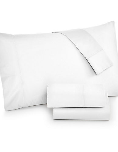 Hotel Collection Four-Piece 525 Thread-Count Cotton Sheet Set-WHITE-King