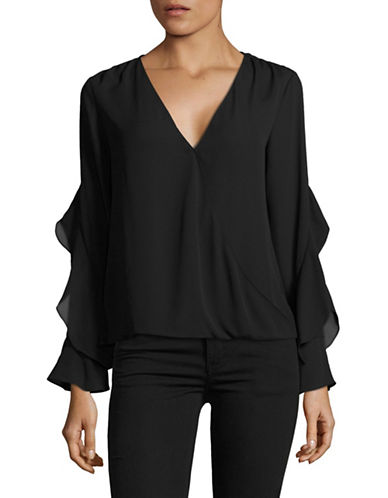 I.N.C International Concepts Ruffle Surplice Top-BLACK-Small