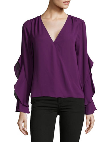 I.N.C International Concepts Ruffle Surplice Top-PURPLE-X-Large