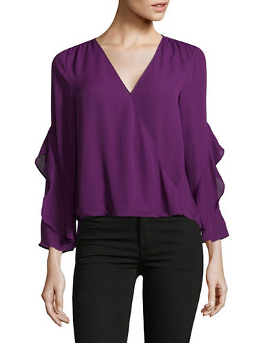 I.N.C International Concepts Petite Ruffle-Sleeve Surplice Top-PURPLE-Petite Medium