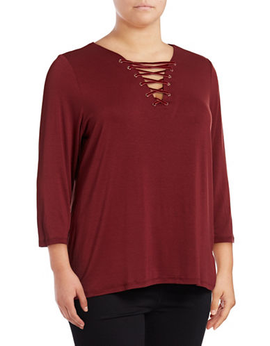I.N.C International Concepts Plus Lace-Up Tee-COCOA ROSE-2X