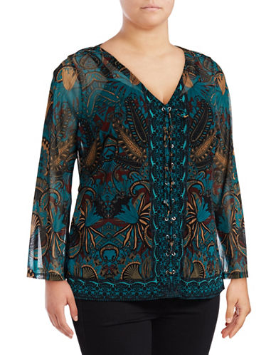 I.N.C International Concepts Plus Printed Semi-Sheer Lace-Up Twofer Blouse-WATER LILY-1X