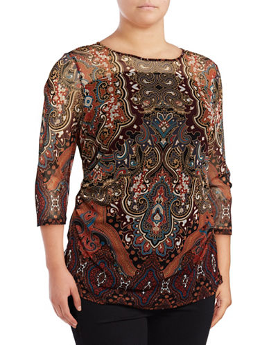 I.N.C International Concepts Plus Three-Quarter Sleeve Illusion Paisley Blouse-RED-1X