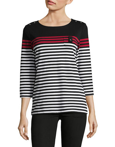 Karen Scott Striped Round Neck Top-BLACK MULTI-Small
