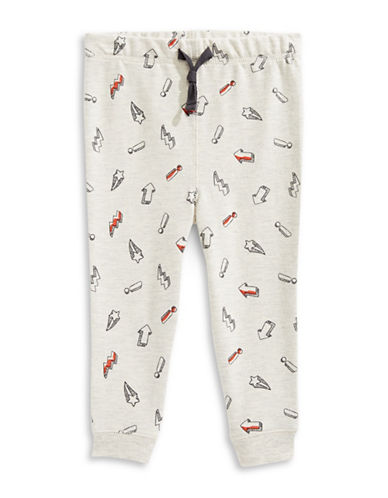 First Impressions Sketch Print Joggers-SILVER-6-9 Months