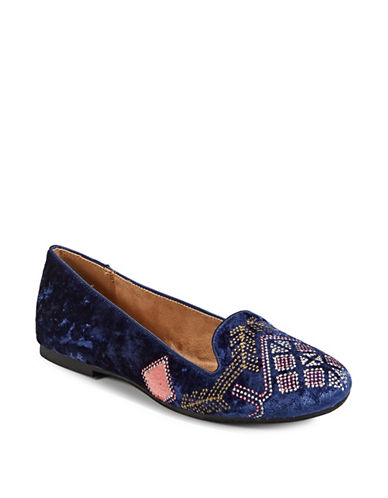 Style And Co. Alysonn Velvet Loafers-BLUE-8