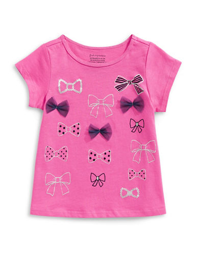 First Impressions Sweet Chic Multi Bow Cotton Tee-PINK-3-6 Months
