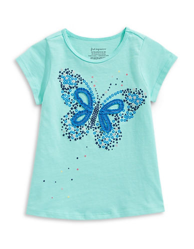 First Impressions Sweet Chic Butterfly Cotton Tee-BLUE-6-9 Months
