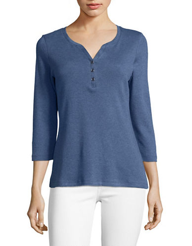 Karen Scott Three-Quarter Sleeve Henley Top-BLUE-Medium