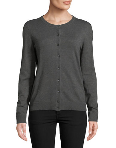 Karen Scott Buttoned Sweater-GREY-X-Large