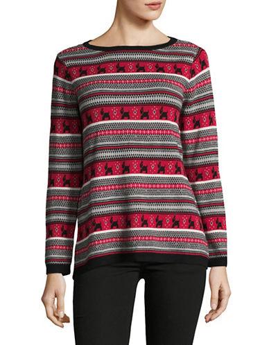 Karen Scott Scotty Dog Cotton Sweater-RED-Medium