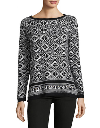 Karen Scott Snowy Print Cotton Sweater-BLACK-X-Large